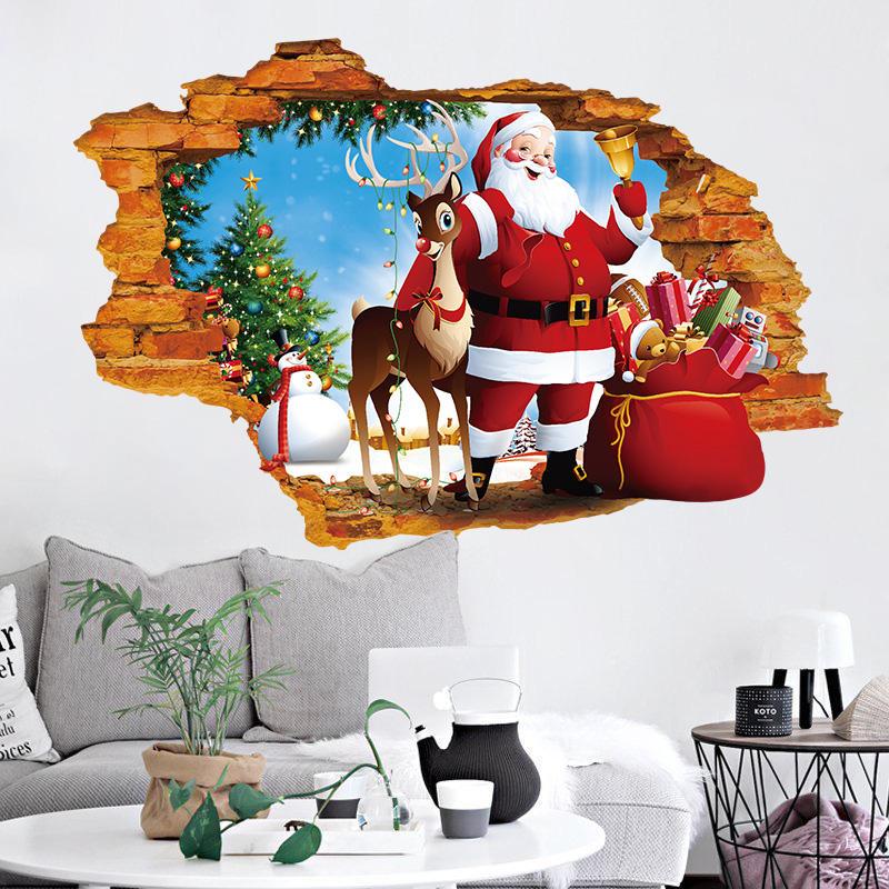 Miico XH7247 Nhãn dán Giáng sinh Trang trí nội thất Nhãn dán Cửa sổ và Nhãn dán tường Cửa hàng Nhãn dán trang trí