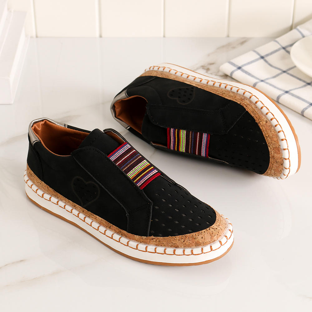 Women Genuine Leather Breathable Plus Size Casual Flats - 9