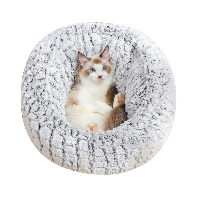 ペット猫のベッドスーパーSoft暖かいラウンド超かわいい犬の巣犬小屋