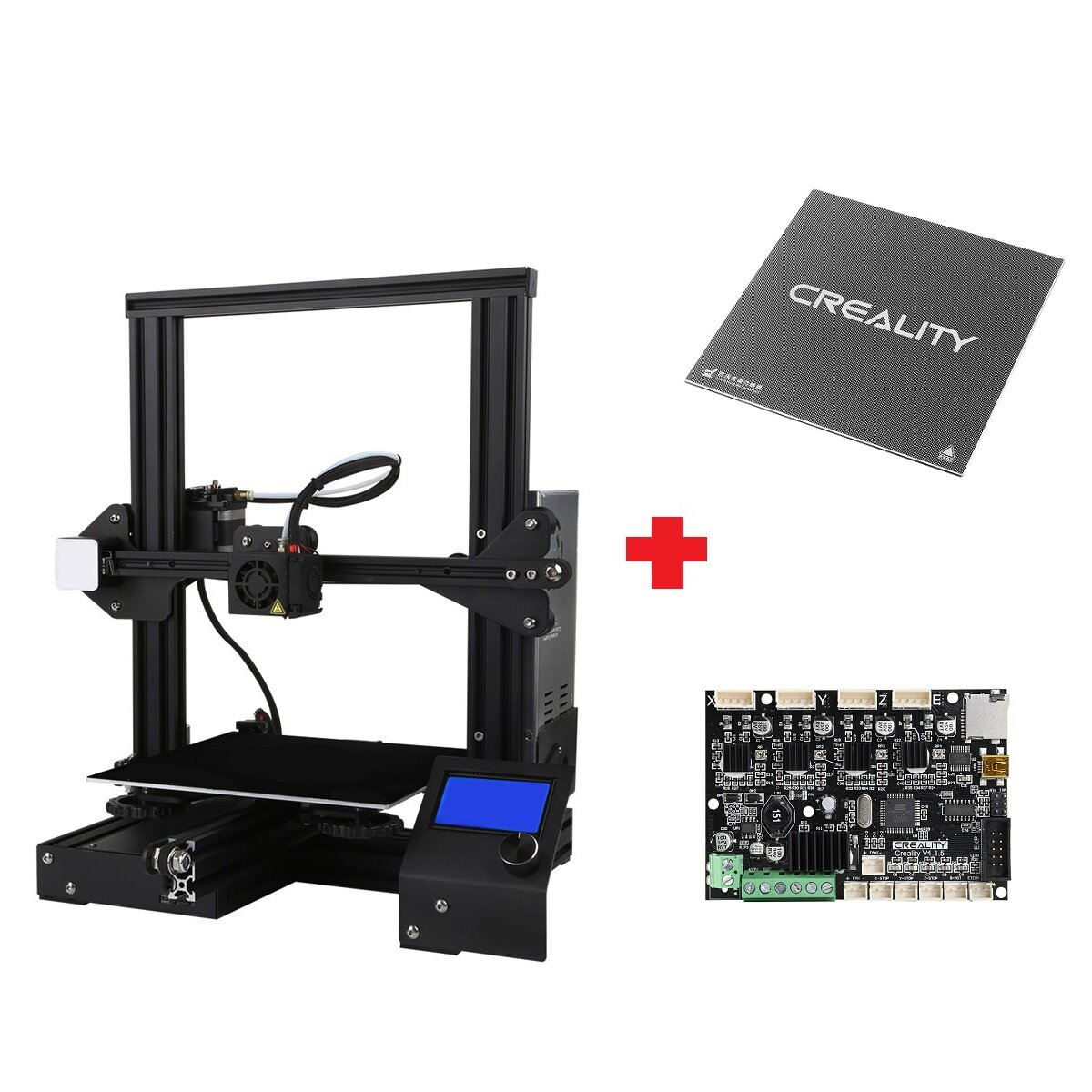 Creality 3D® Customized Version Ender-3X / Ender-3Xs V-slot Prusa I3 3D Printer Kit 220x220x250mm Printing Size With Removable Glass Plate Platform/V1.1.5 Super Silent Mainboard/Power Resume Function
