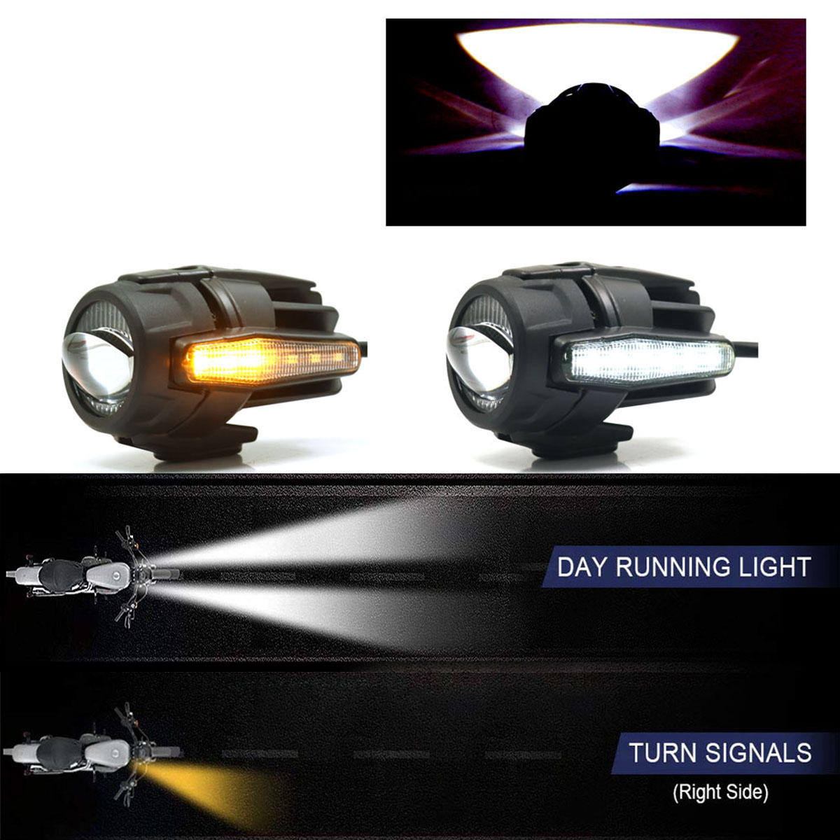 Motorcycle Cafe Racer COB LED Projector Angel Eye Headlights Lamp - 3
