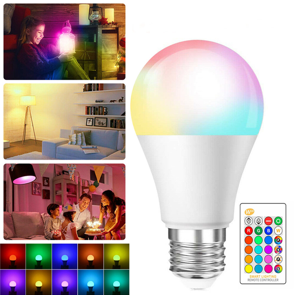 Dimmable 3W 5W 7W 10W 15W E27 AC85-265V RGBW LED Globe Light Bulb Remote Control for Indoor Home Use