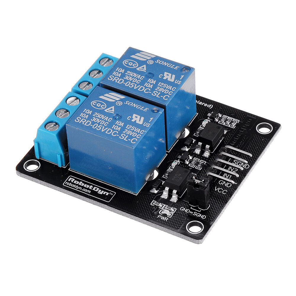 2 Channel Relays 3.3V/5V 10A 250VAC/60VDC Relay Module RobotDyn for Arduino - products that work with official Arduino b