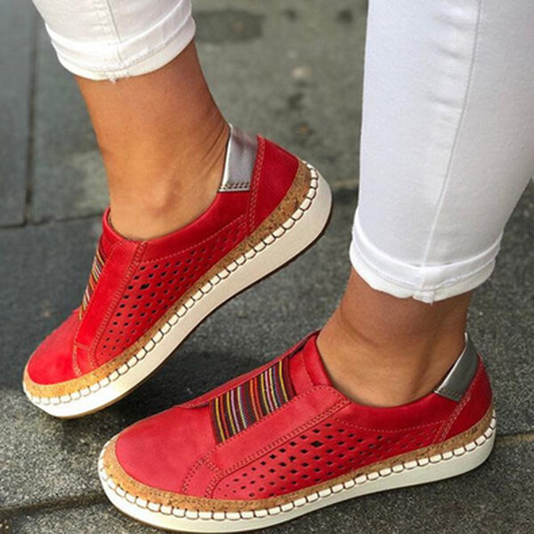 Women Genuine Leather Breathable Plus Size Casual Flats - 2