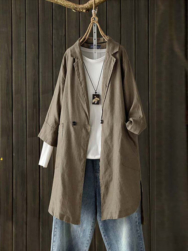 Women Pure Color Cotton Turn-Down Collar Buttons 3/4 Sleeve Coats with Pockets