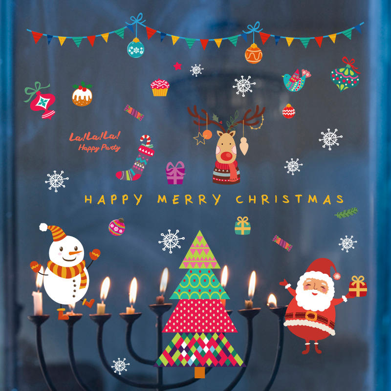 Miico SK9229 Christmas Sticker Cartoon Removable Wall Stickers PVC For Room Decoration