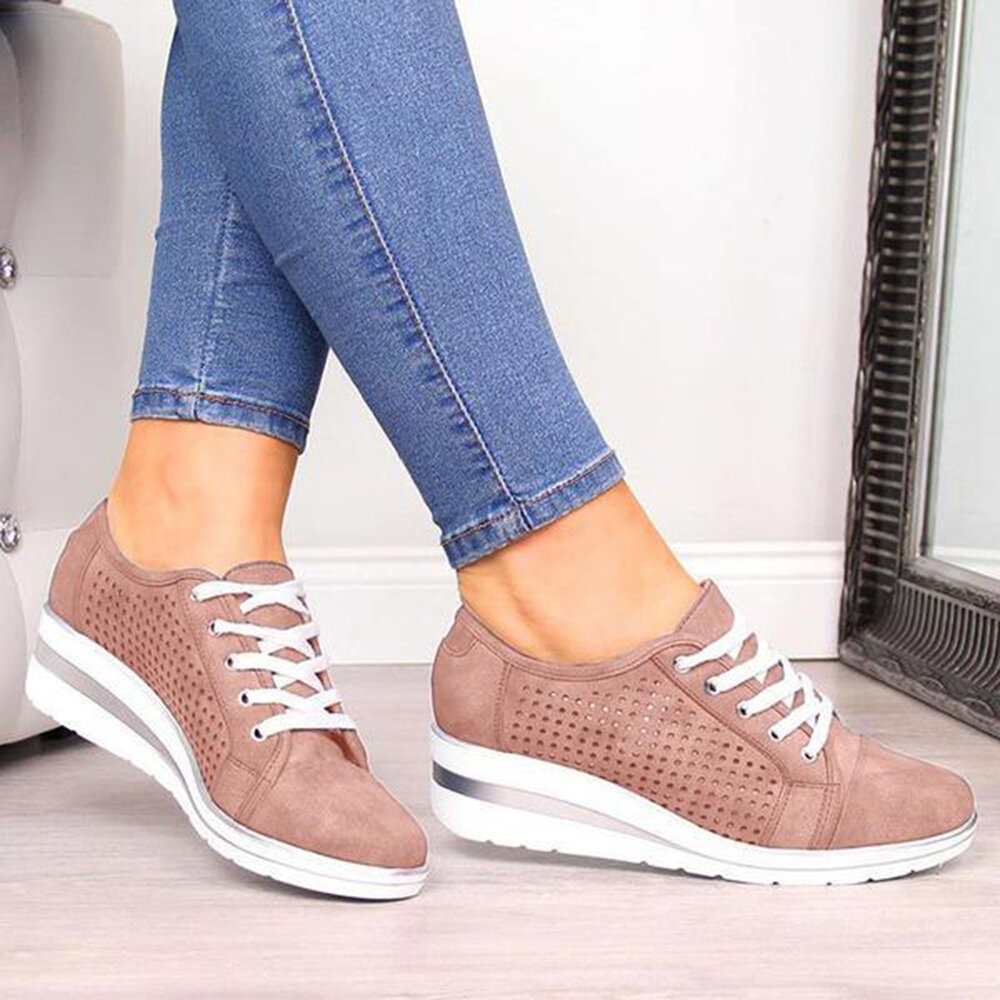Women Casual Hollow Out Breathable Flats - 5