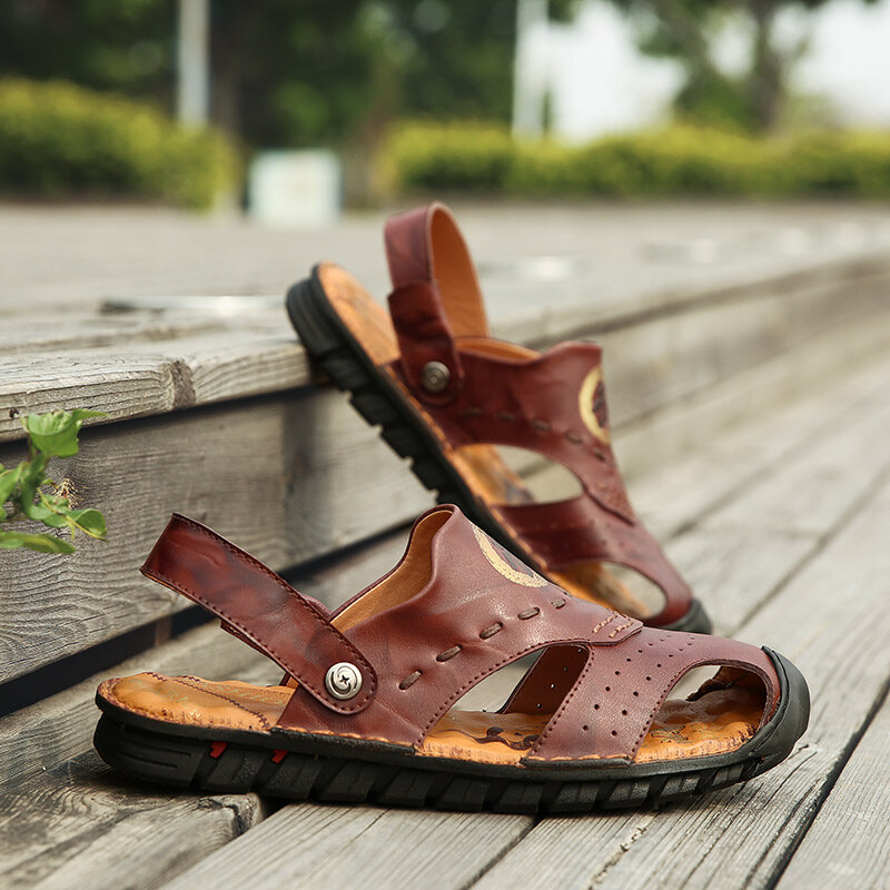 Cowhide Casual Soft Walking Sole Beach Leather Sandals - 4