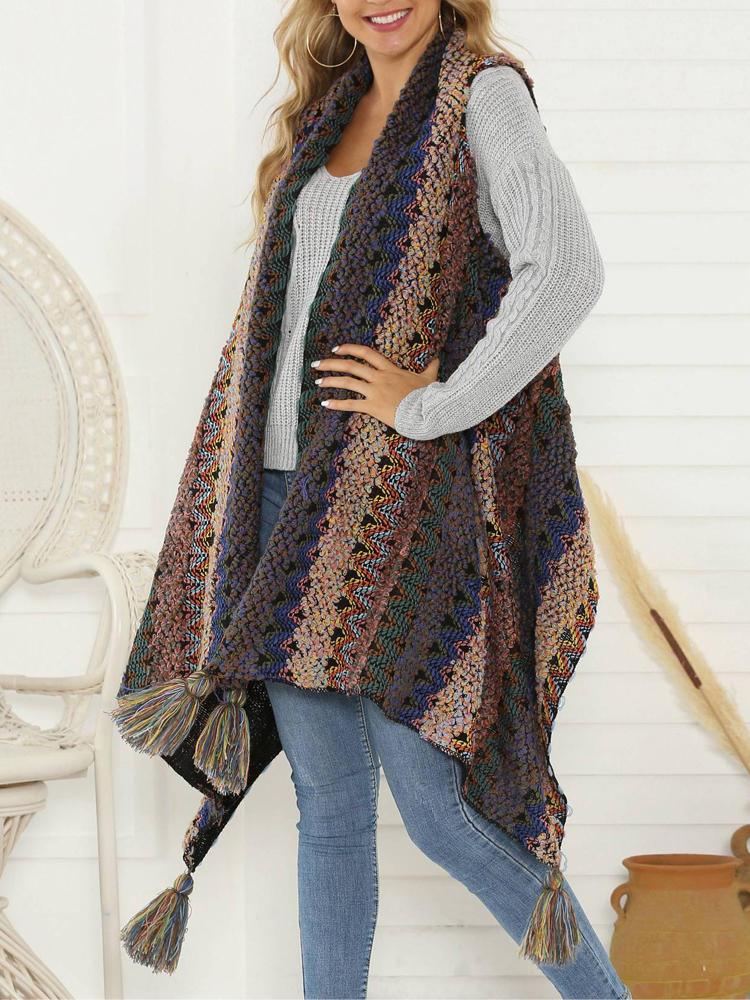 Shawl Collar Irregular Patchwork Button Hooded Knit Sweaters - 4