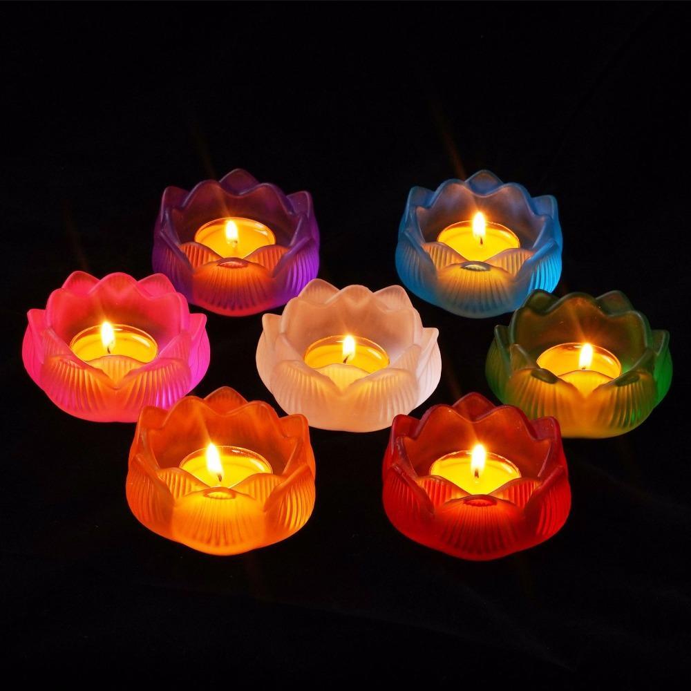 Цвет Лотос Дивали Стеклянные Подсвечники Буддизм Религиозные Мероприятия Украшения Гхи Лампа Подсвечник Держатель