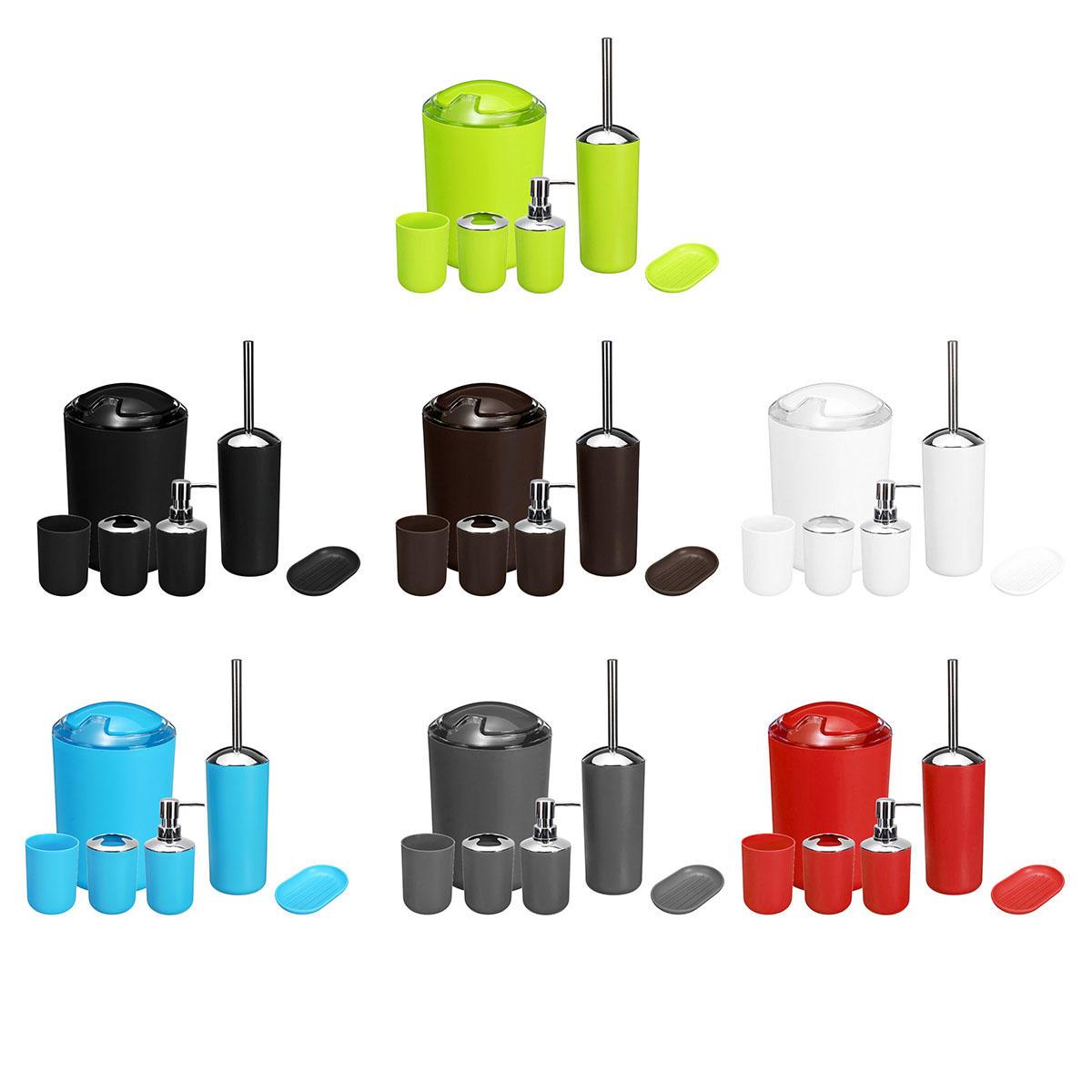 6pcs Bathroom Accessories Set Storage Black Soap Dispenser Toothbrush Holder Home Decor Accessories