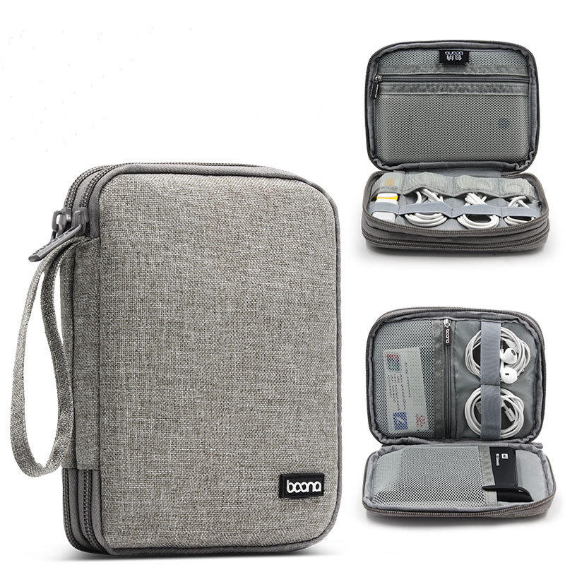 बून 18 * 14 सेमी डबल-लेयर डिजिटल एक्सेसरीज स्टोरेज बैग यूएसबी केबल चार्जर आयोजक टैबलेट बैग
