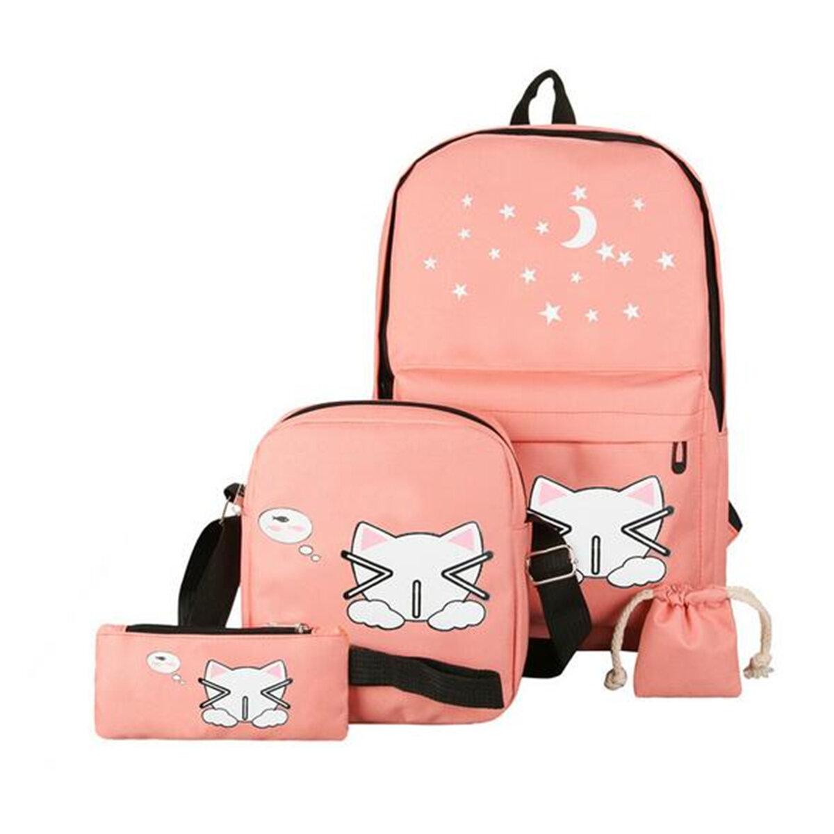 4PCS Women Girls Canvas School Backpack Travel Rucksack Shoulder Bag Purse