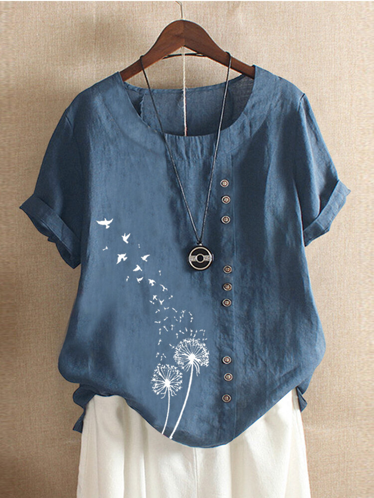 Women Casual Flower Birds Print Short Sleeve Button T-shirts