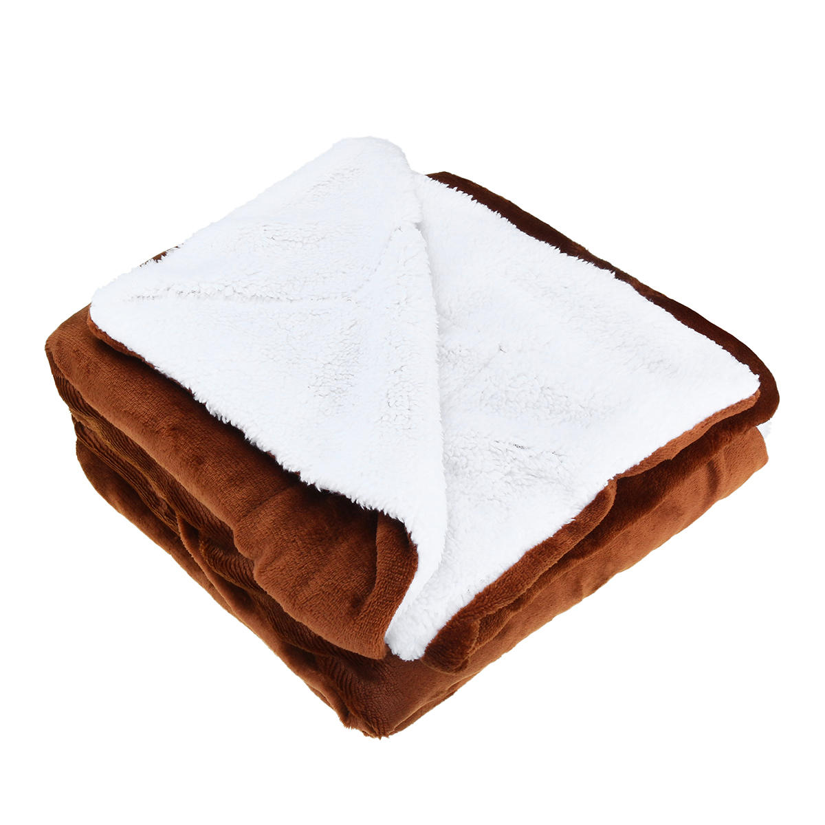 4 Colors Flannel Sherpa Throws Fleece Blankets Sofa Bedding Office Sleep Large Double King Soft Warm - 4