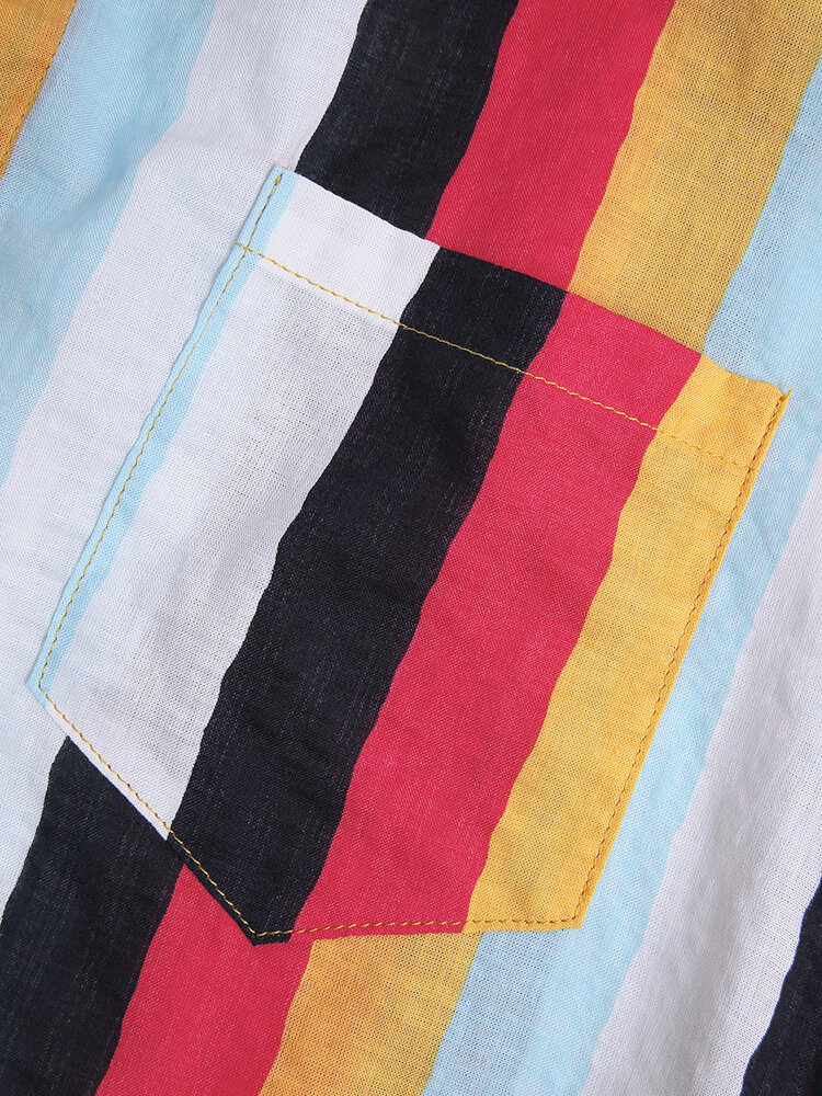 Mens New Fashion Casual Short Sleeve Colorful striped shirts - 7