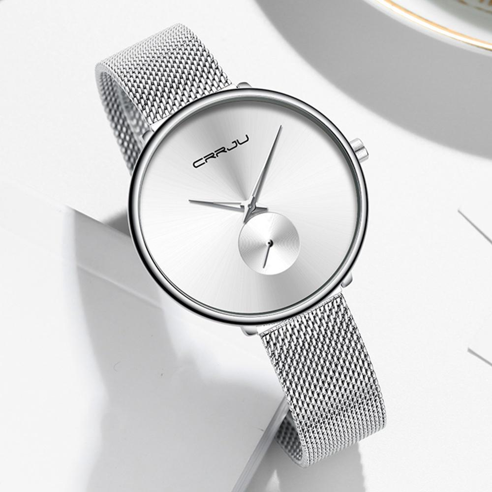 CRRJU 2165 Fashion Full Steel Strap Casual Simple Dial Luxury Women Quartz Watch - 7
