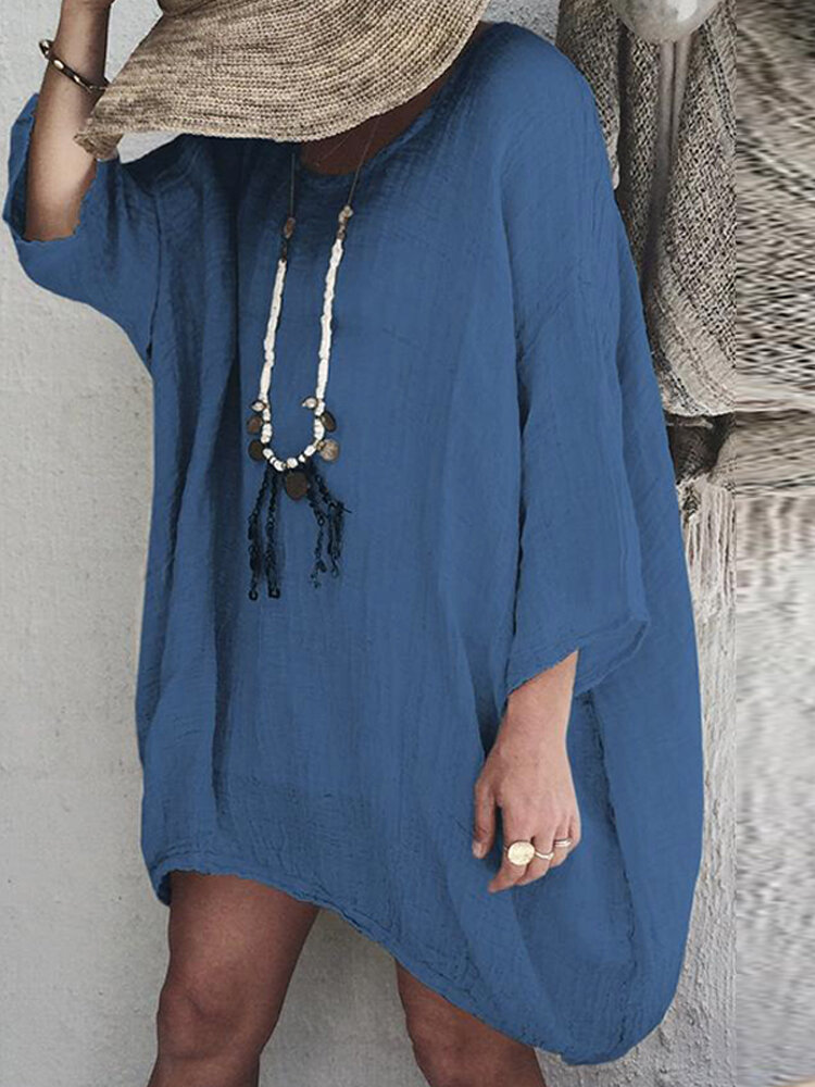 Women Solid V Neck Cotton Casual Baggy Tunic Blouse Mini Dress