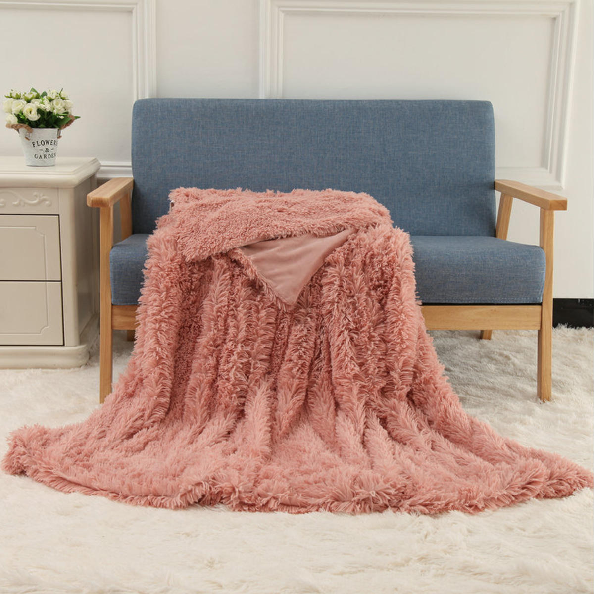 160x200cm / 130x160cm MECO Large Luxury Shaggy Blankets Mit Herz Teppich Kunstfell Long Pile Throw Schlafsofa Soft Warme Decke Shaggy Fluffy Rug - 6