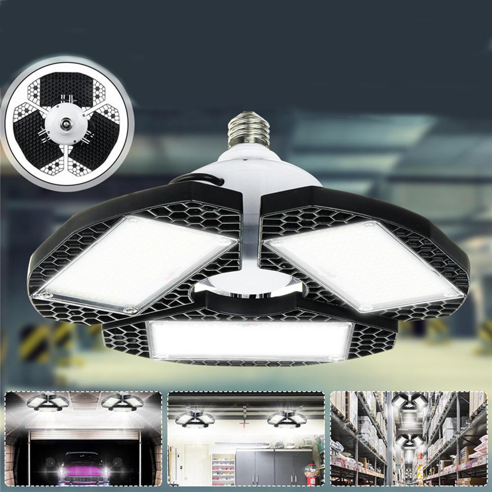 60/80/100W LED Garage Lights Deformable Ceiling Fixture Workshop Shop Three-Leaf - 1