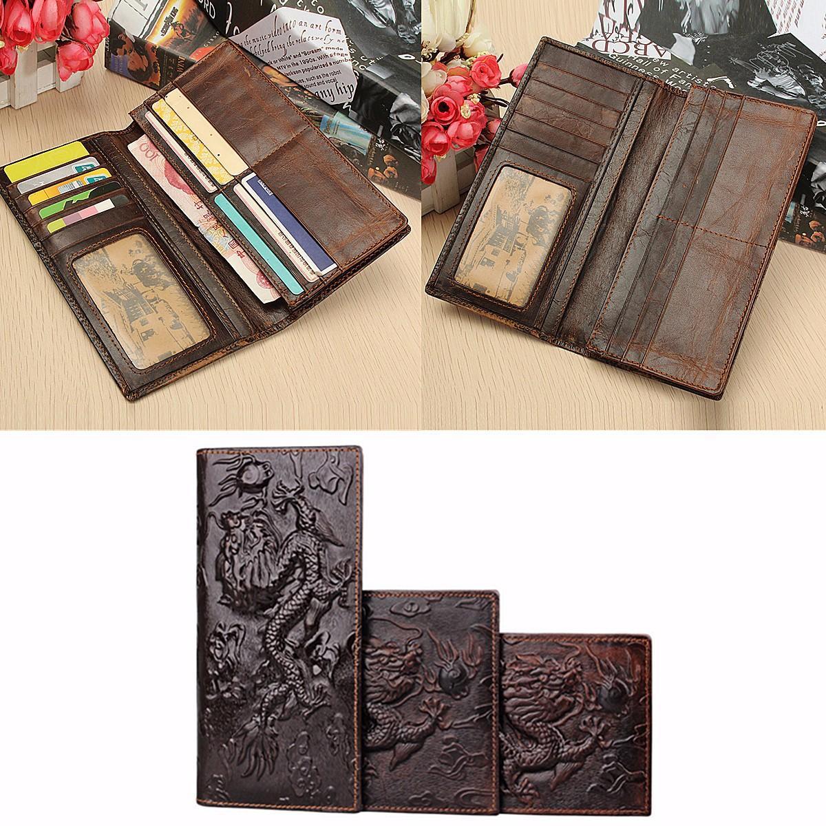 Mannen lederen Dragon lange korte portemonnee Coin Money kaarthouder Clutch Purse - 2