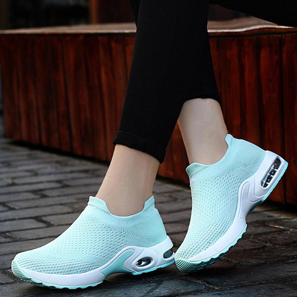 Women Mesh Hook Loop Zipper Wedges Casual Sneakers - 1