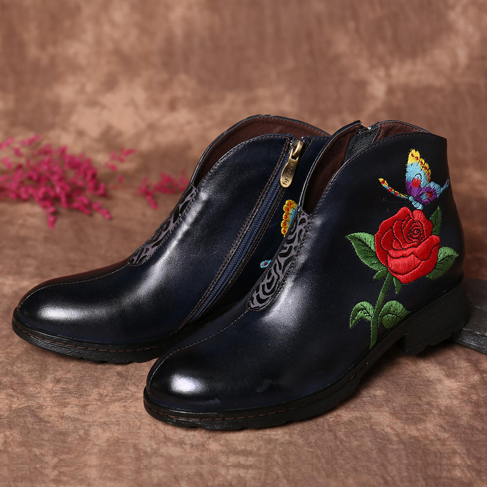 Socofy Women Embroidered Rose Butterfly Genuine Leather Soft Flat Ankle Boots