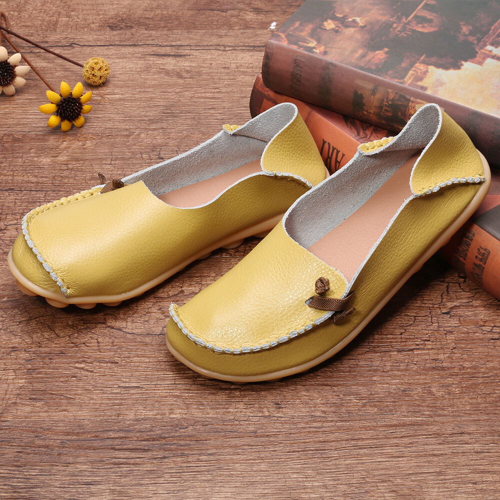 Women Casual Solid Color Round Toe Lace Up Loafers - 6