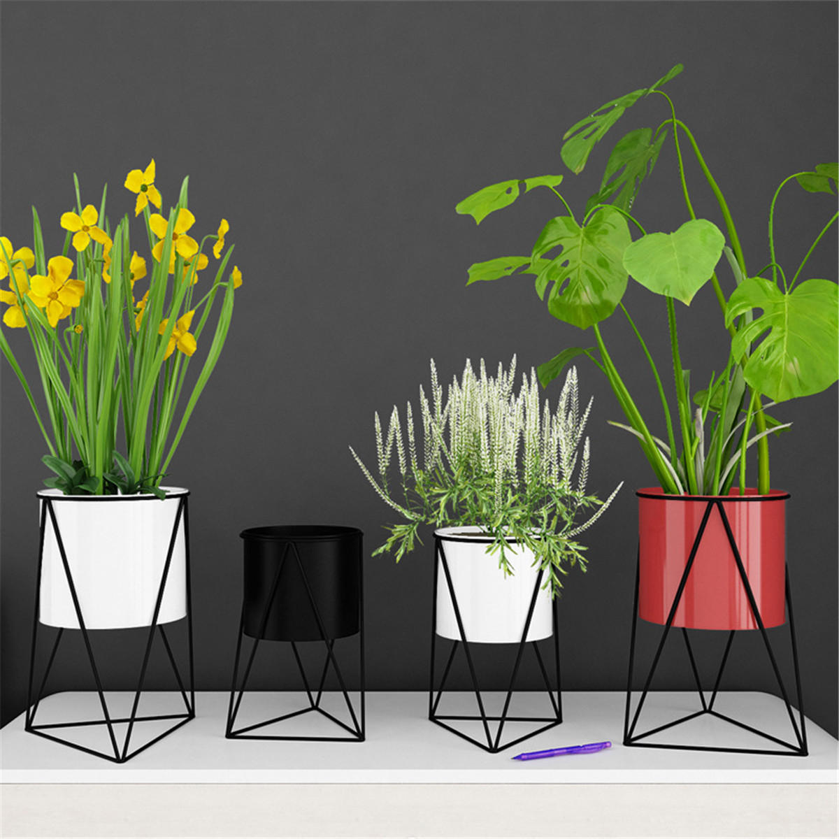 Retro Flower Stand Chic Indoor Garden Metal Plant Holder Display Planter Vase - 1