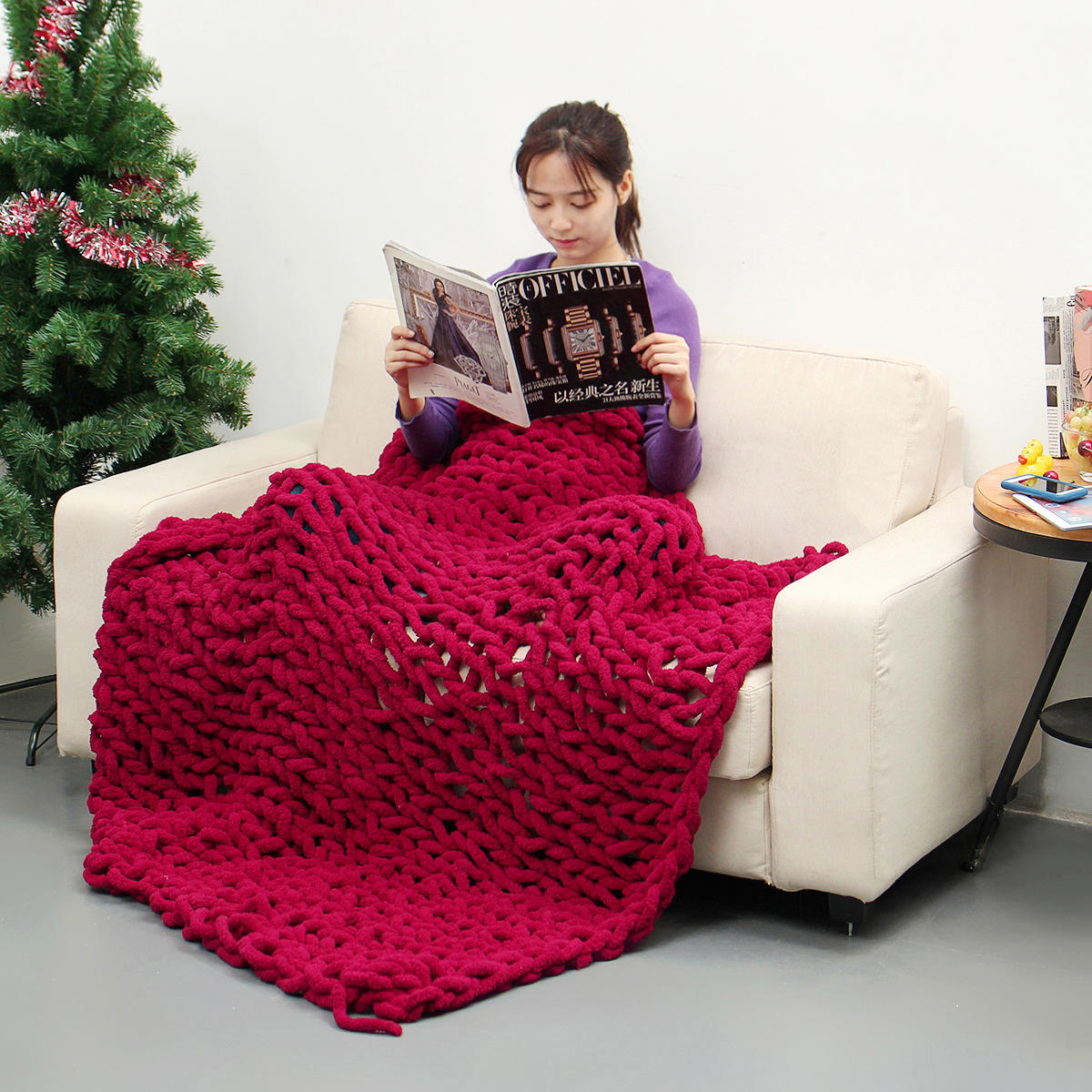 80 x 100 cm handgemachte gestrickte Decke Baumwolle Soft Waschbare fusselfreie Überwurfdecken - 1