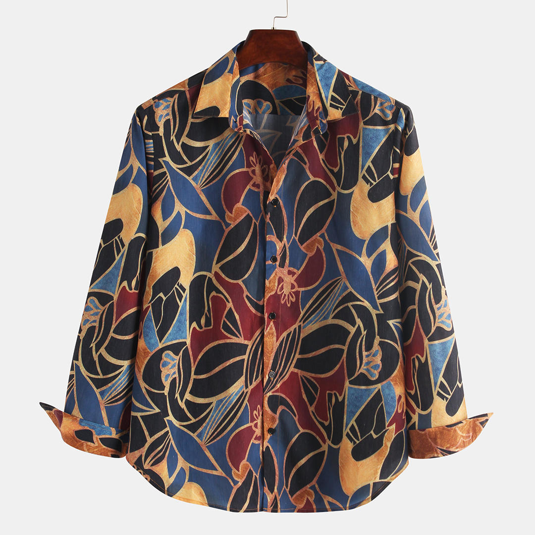 Mens Ethnic Style Colorful Printing Long Sleeve Turndown Collar Loose Casual Shirts