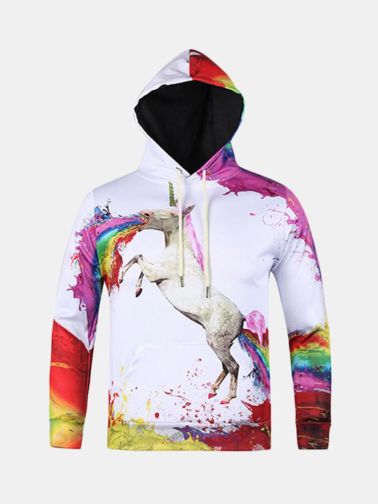 Mens Hoodies मूल 3 डी Colorful गेंडा मुद्रण फैशन आकस्मिक खेल Hooded Sweatshirt