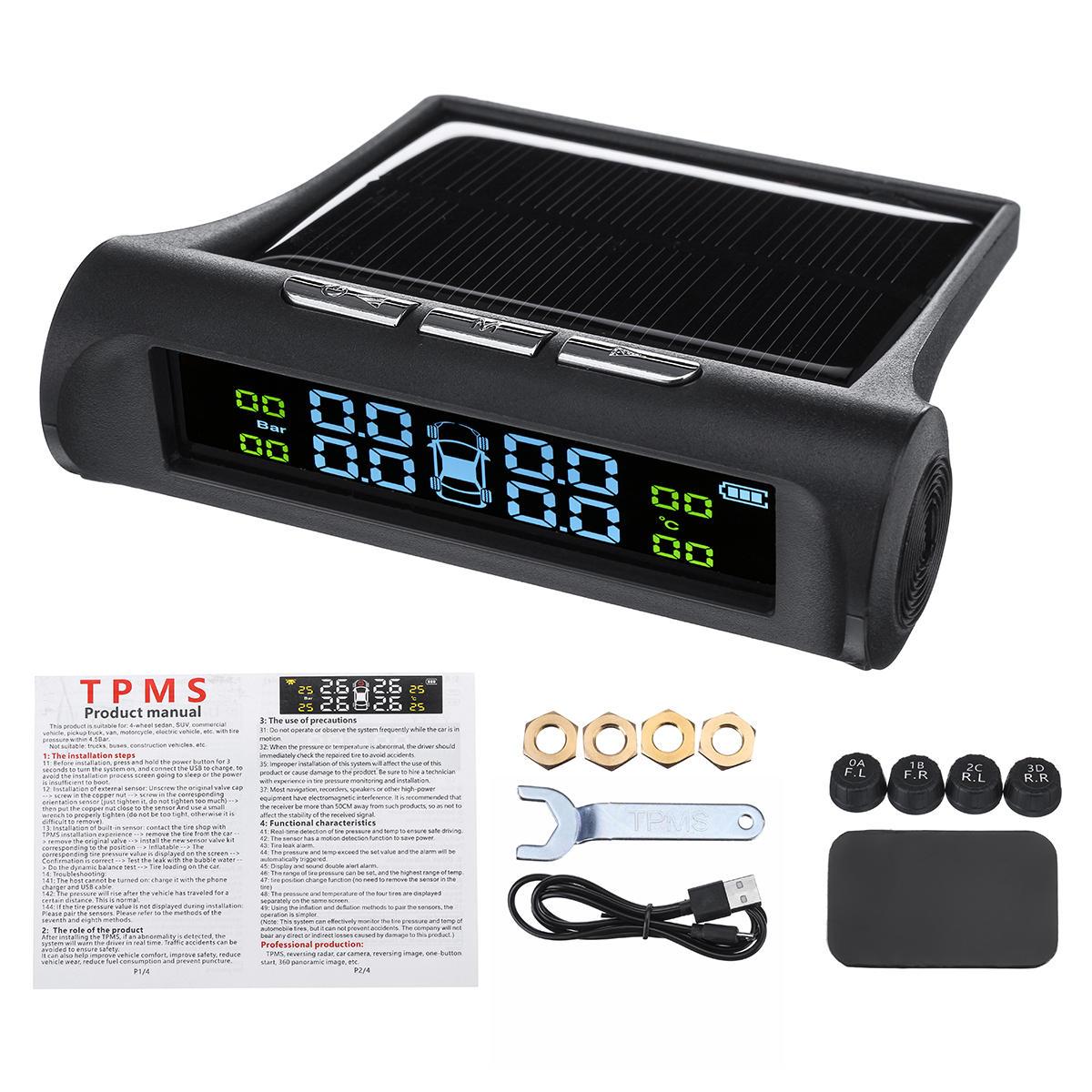 Wireless Solar TPMS Car Tire Pressure Monitor System + 4 External Sensors 0-5 Bar