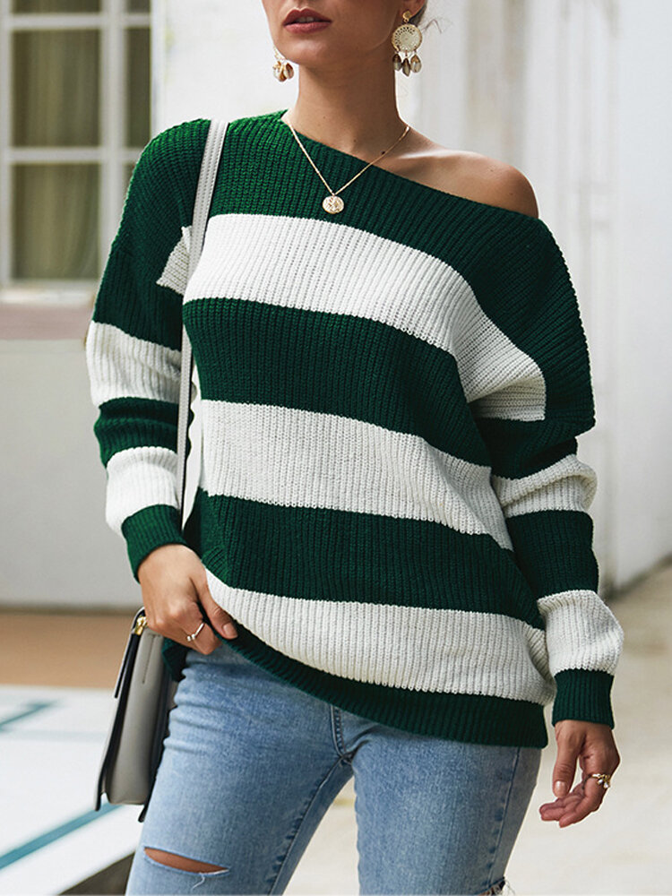 Women Flag Print Knit Long Sleeve Casual Sweaters - 8