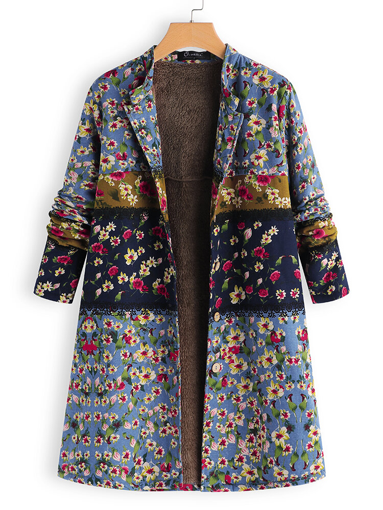 Vintage Patchwork Print Long Coats for Women