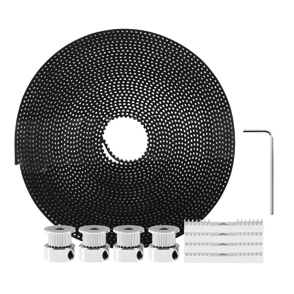 TWO TREES® 5M GT2 Timing Belt + 4Pcs 20Teeth Timing Belt Pulleys + 4Pcs Mounting Blocks Kit with Hex Key for 3D Printer Reprap/Prusa/MendelMax