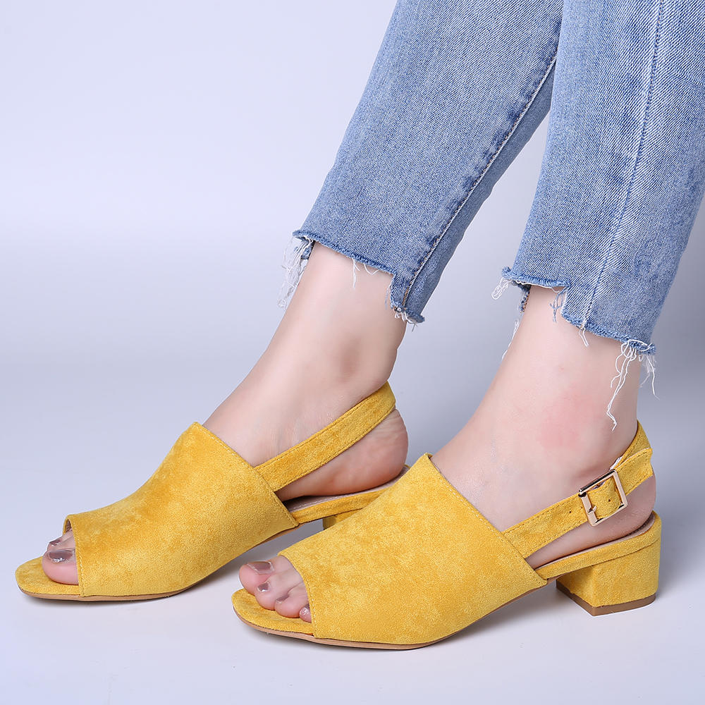 LOSTISY Women Solid Color Suede Peep Toe Slingback Chunky Heel Casual Daily Heeled Sandals - 3