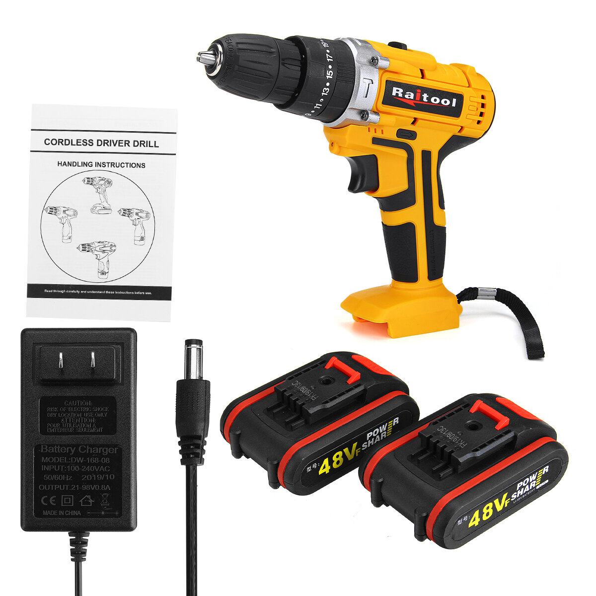 48V 3 In 1 Cordless Power Drills 15+1 Torque Drilling Tool Dual Speed Electric Screwdriver Drill W/ 1 or 2 Li-ion Battery - 2