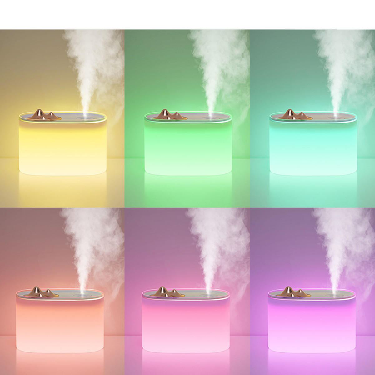 1000ml 7 Colors LED Light USB Ultrasonic Humidifier Double Spraying Aroma Essential Oil Diffuser - 6