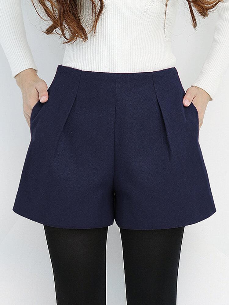 High Waist Loose Wide Leg Wool Shorts - 6
