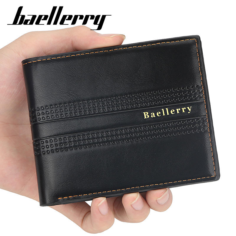 Baellerry Men Faux Leather Fashion Business Casual Wallet With 6 Card Slots