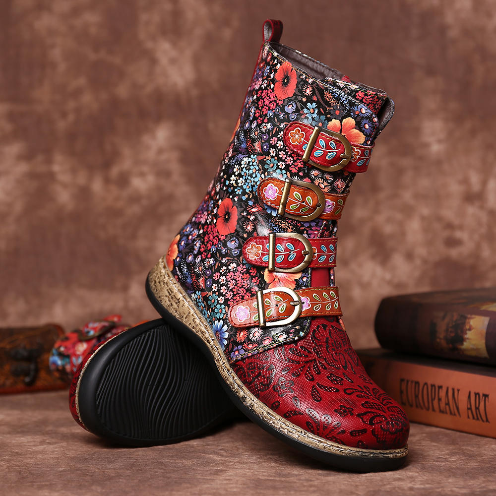 Old Fashion Pure Color Leather Mid-Calf Boots - 3