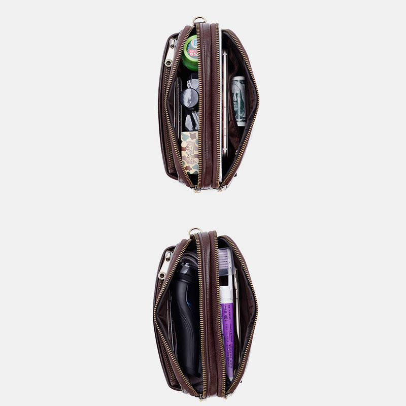 4.7 to 6 Inches Cell Phone Pouch Genuine Leather Waterproof Waist Pack For Men - 3