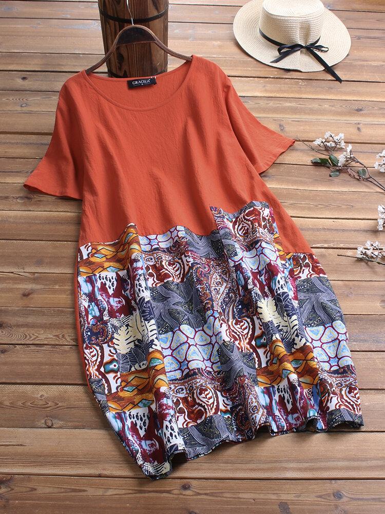 Etnik Baskı Patchwork Kısa Kollu Vintage Elbise