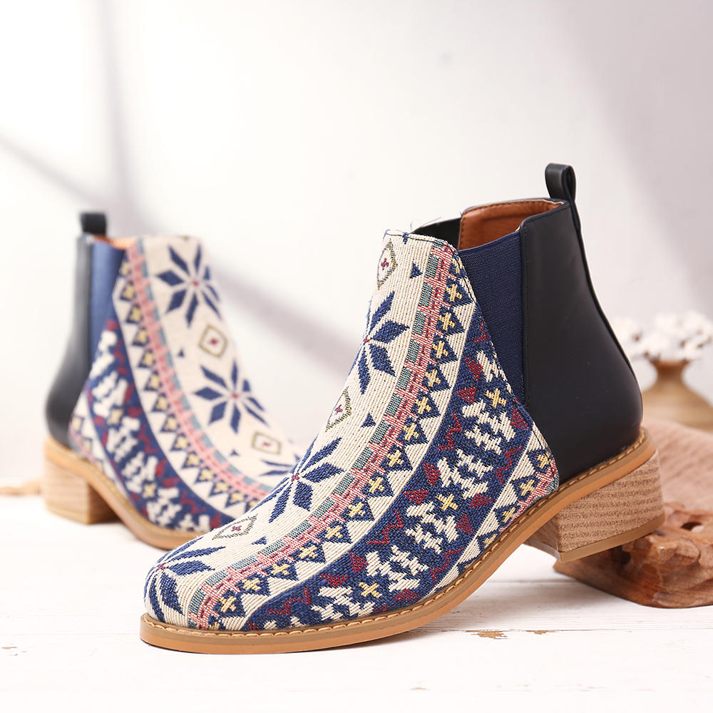 Women Plus Size Suede Laciness Breathable Ankle Boots - 4