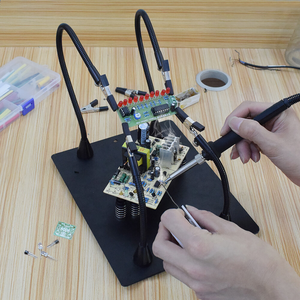 YP-91 PCB Fixture Soldering Helping Hand Soldering Station Third Hand Tool Soldering Repair Tool with Magnetic 160mm Flexible Arm - 1