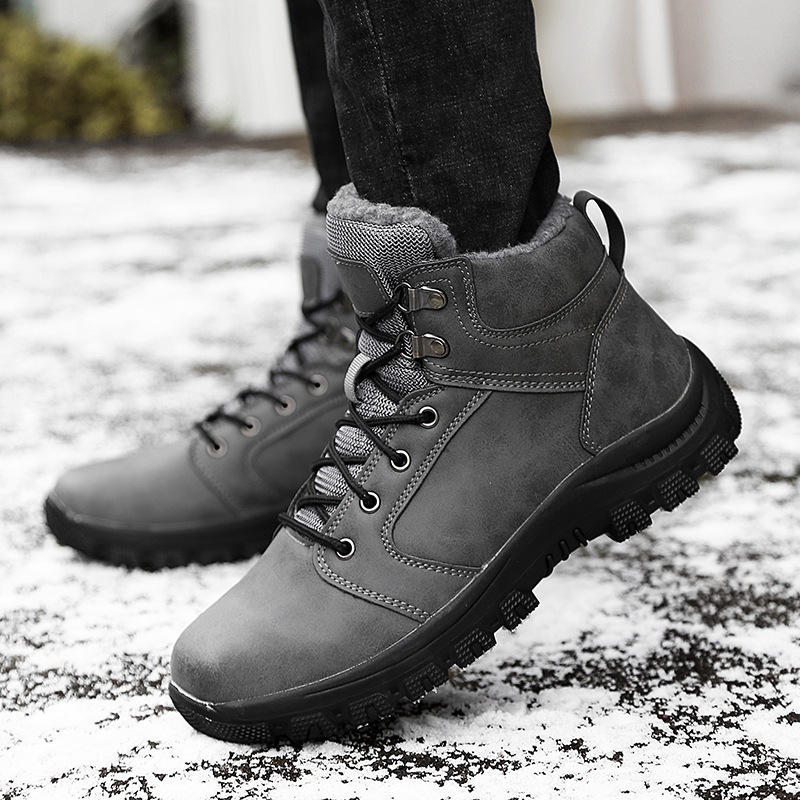 Men's Winter Keep Warm Waterproof Non-Slip Black Combat PU Leather Lace Up Jungle Hiking Snow Boots - 7