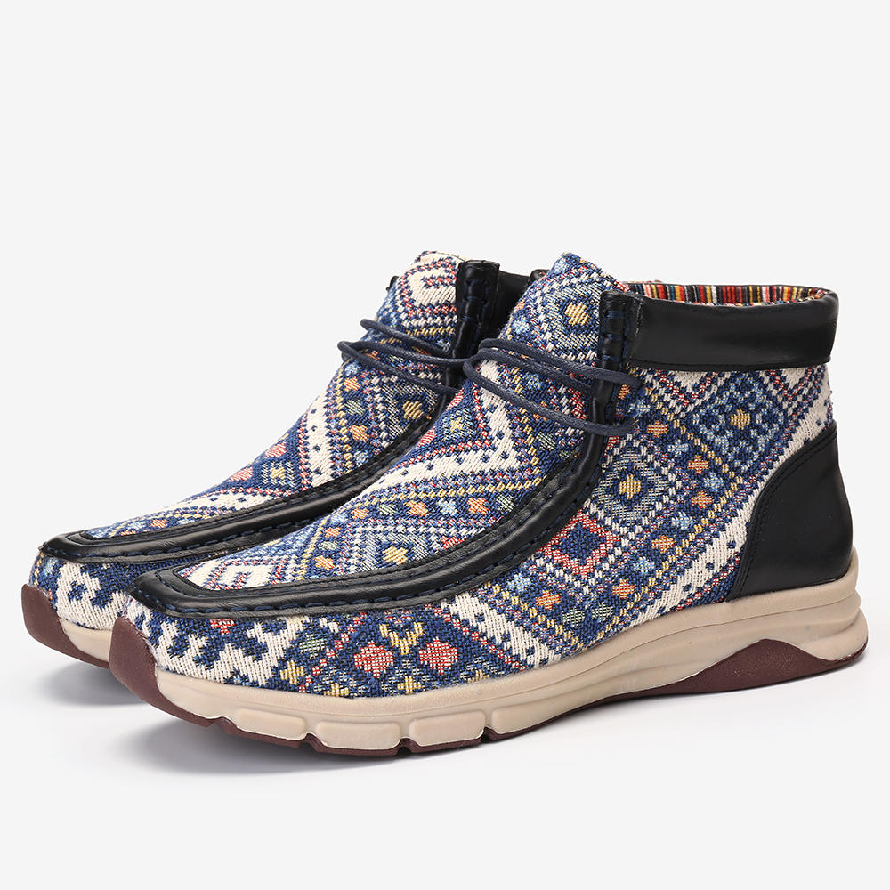 LOSTISY Women Folkways Casual Stitching Vintage Short Ankle Boots