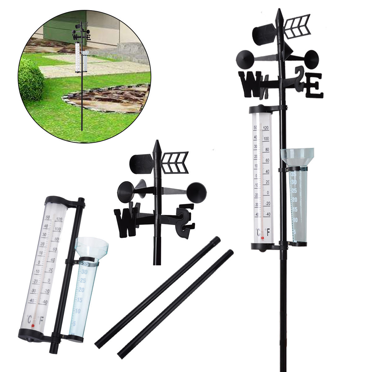 Multifunction Outdoor Garden Weather Station Meteorological Measurer Vane Tool Wind Rain Gauge Temperature Instruments