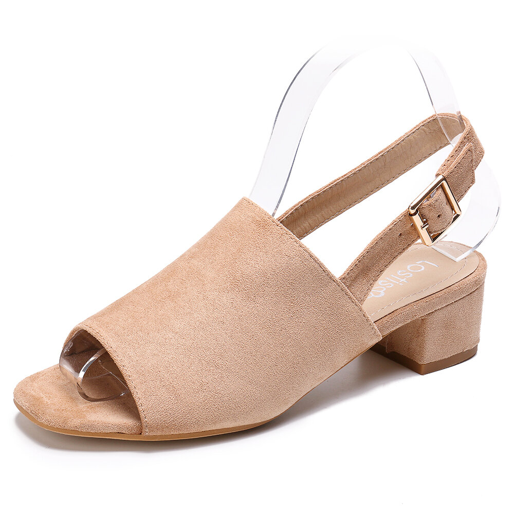 LOSTISY Women Solid Color Suede Peep Toe Slingback Chunky Heel Casual Daily Heeled Sandals - 1